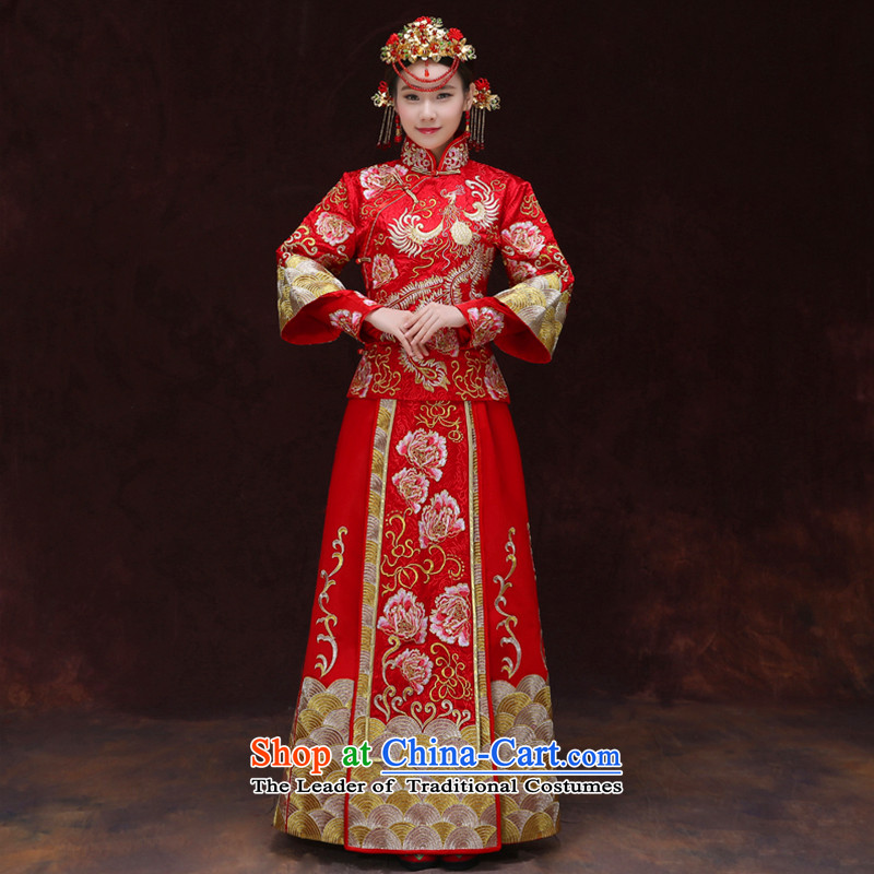 Tsai Hsin-soo wo service of new Chinese wedding dresses bows services to the dragon costume Hei services use the wedding dress Sau Fung Koon-hsia previous Popes are placed and the use of a set of clothes to the dragon燤 chest 90