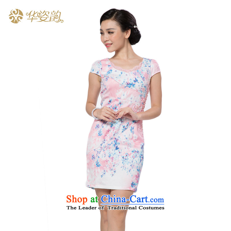 China 2015_ to position the skirt summer larger ethnic Chinese Tang dynasty embroidery retro short-sleeved qipao skirt improved daily Ms. shirt elegant even turning skirt pink燲XL