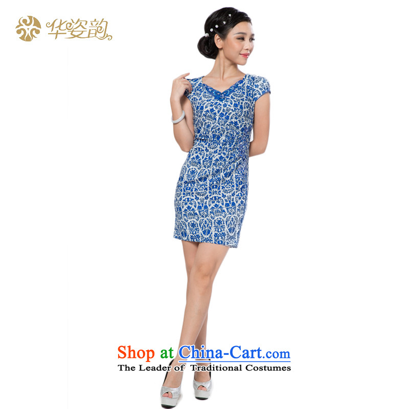 The 2015 summer Gigi Lai Hua women of ethnic Chinese jacquard retro look like video thin Sau San short-sleeved package and Tang dynasty cheongsam dress daily banquet dress light blue XXL