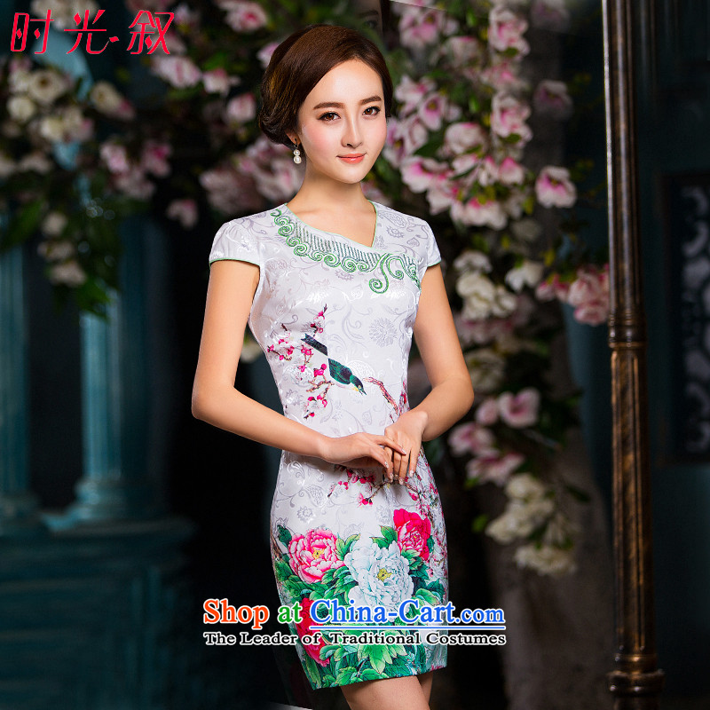 The Syrian Arab Republic? 2015 Autumn load time new women's body graphics thin temperament decorated short-sleeved dresses package and skirt cheongsam pictures qipao step color?L