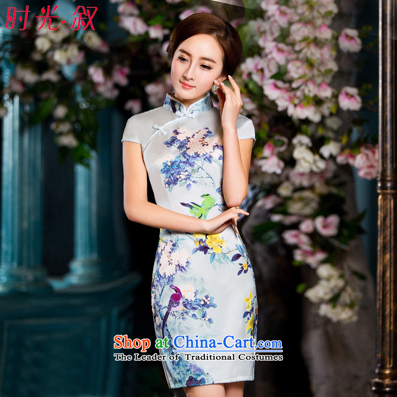 Time the new Syrian cheongsam dress 2015 Autumn) replacing retro Sau San-to-day improvement of Ms. cheongsam dress white?L