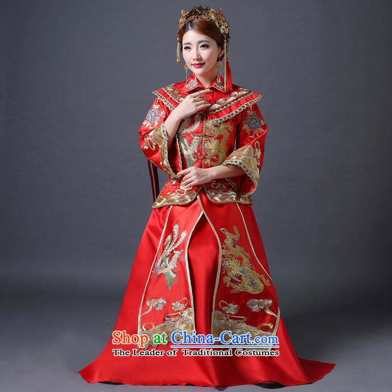 Sau Wo Service 2015 new winter bride wedding dress red Chinese wedding fashion bride bows to female red qipao L
