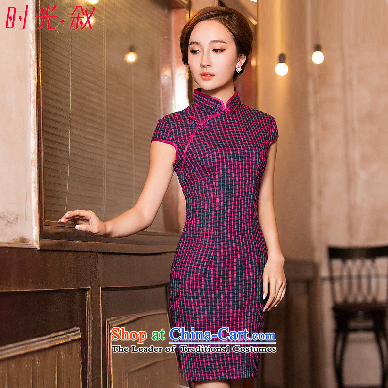 Time Syrian new autumn 2015 qipao Stylish retro Foutune of slimming improved short of grid daily cheongsam dress girls cheongsam red?S