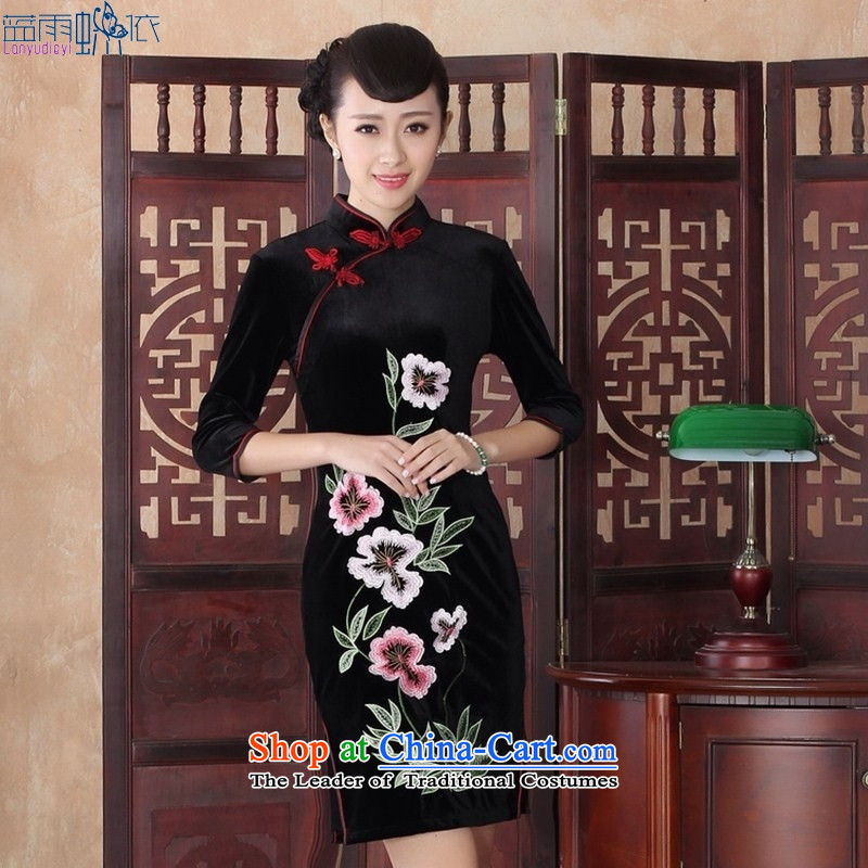 New dulls stylish dresses daily Sau San video thin retro elegance embroidery cheongsam dress聽SRZX0019 XL