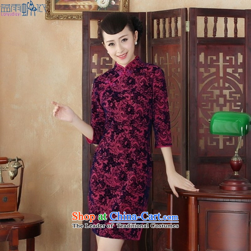 The new pattern of daily scouring pads in the stylish retro qipao long-sleeved spring mother cheongsam dress SRZX0002 XL