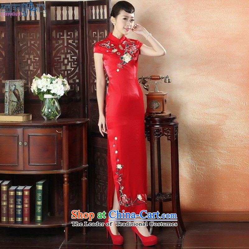 Red embroidery cheongsam qipao large yards brides of Chinese performances聽CQP0011 dress S