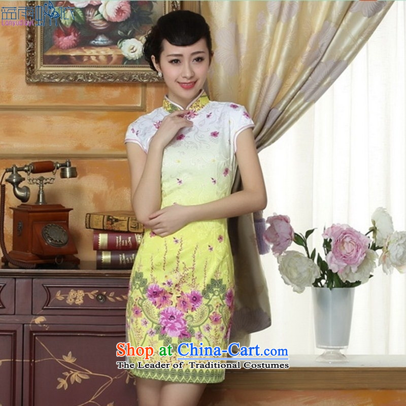 New stylish skirt cheongsam elegant hand-painted flowers daily spring and summer load short cheongsam dress temperament燭HM0064 M