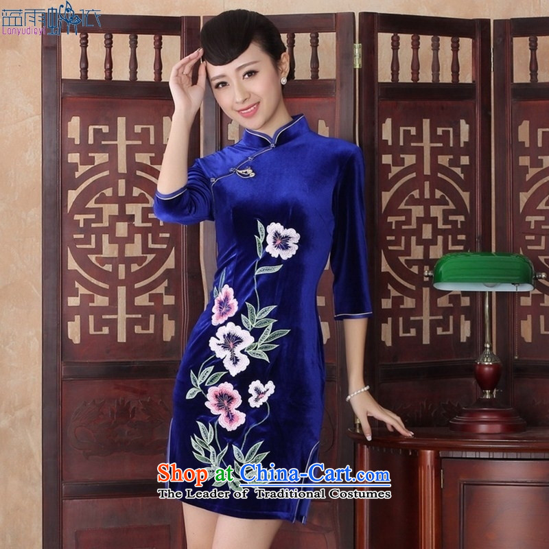Everyday dress retro stylish elegance Sau San video thin cheongsam dress in Ms. velvet cuff�SRZX0018 QIPAO XXL