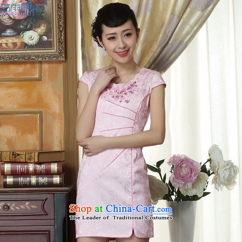 Spring outfits and stylish pure color gentlewoman cheongsam dress short of qipao cheongsam dress daily Sau San燭LM0065 XXL