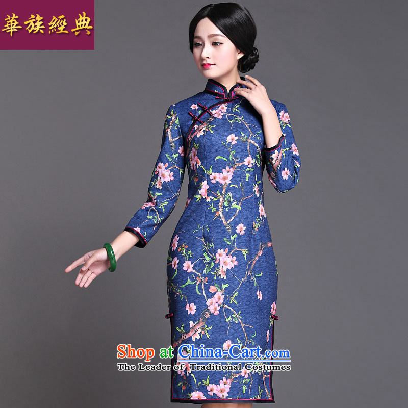 Chinese New Year 2015 classic ethnic autumn day improved Ms. replace cuff 7 cuff cheongsam dress temperament retro Suit聽M