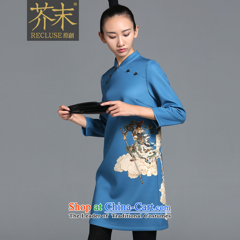 【 mustard original as soon as possible to the heart _ China wind WONG Shek-Tiger Eye improved qipao female dresses autumn and winter long-sleeved cheongsam dress new sky blue spot S