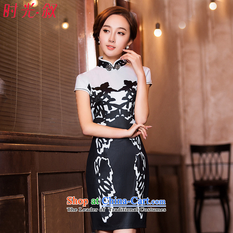 Time the爊ew 2015 Syria cheongsam dress fall short of daily fashion replacing video Ms. thin retro Sau San cheongsam dress black燲XL