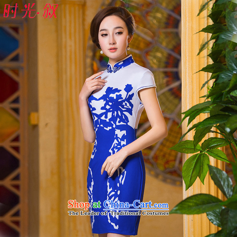 Time the�new 2015 Syria cheongsam dress blue autumn replace short of daily fashion Sau San video thin, Retro cheongsam dress Blue�M