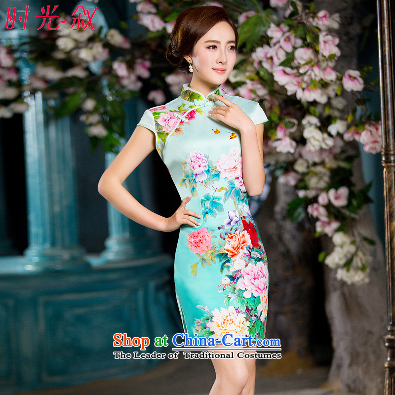 Time Syrian qipao fall inside a trendy new improvements of Chinese short of daily banquet cheongsam dress theatrical dress green?M