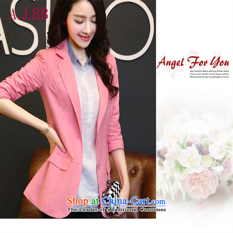 Memnarch ? 2015 Ms. Anne New Small Business Suit Low Women's jacket Korean cotton linen leisure suit light green M