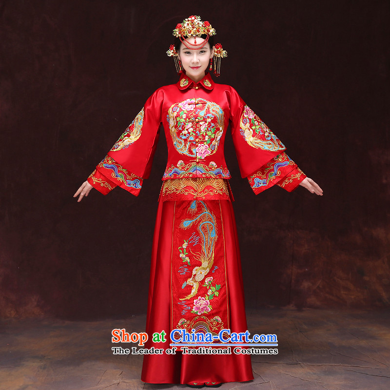 Tsai Hsin-soo wo service of new Chinese dresses 2015 bride with ancient bows services-hi-dragon use Chinese wedding dresses Bong-Koon-Hsia Chu Bong-embroidered previous Popes are placed + head ornaments爋f the XS chest 90
