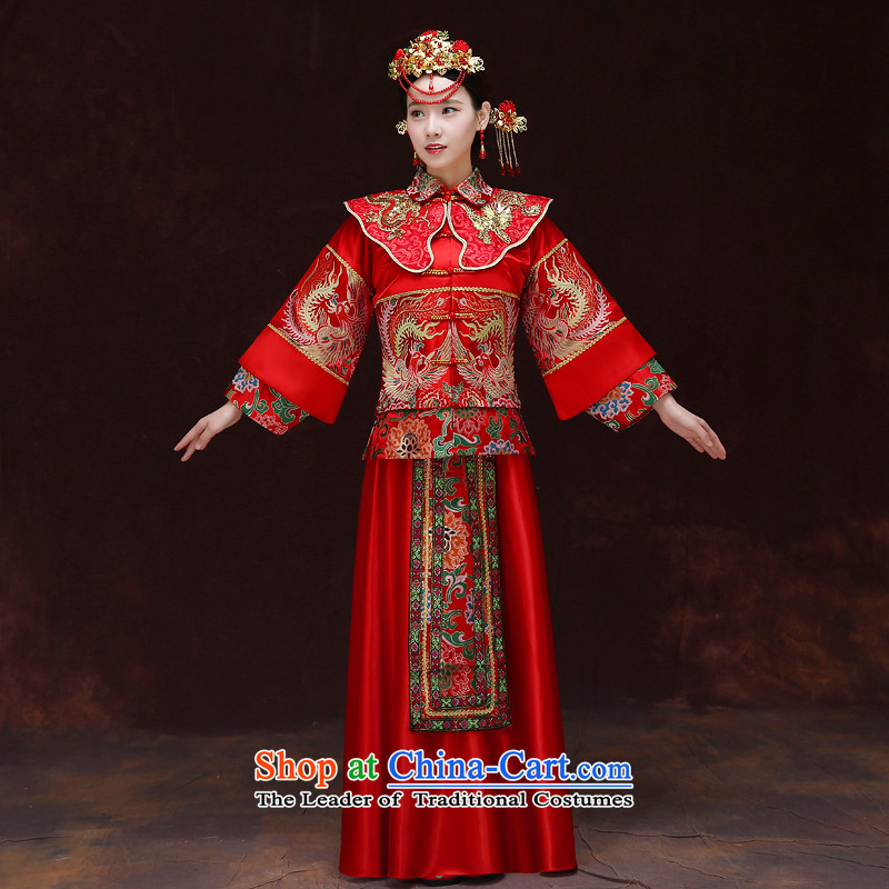 Tsai Hsin-soo Wo Service dream Chinese Soo Wo Service of nostalgia for the bridal dresses and Phoenix use marriage services-hi-costume bows wedding dress Chinese FENG XIA previous Popes are placed a set of clothes crown + model Head Ornaments燲L chest 106