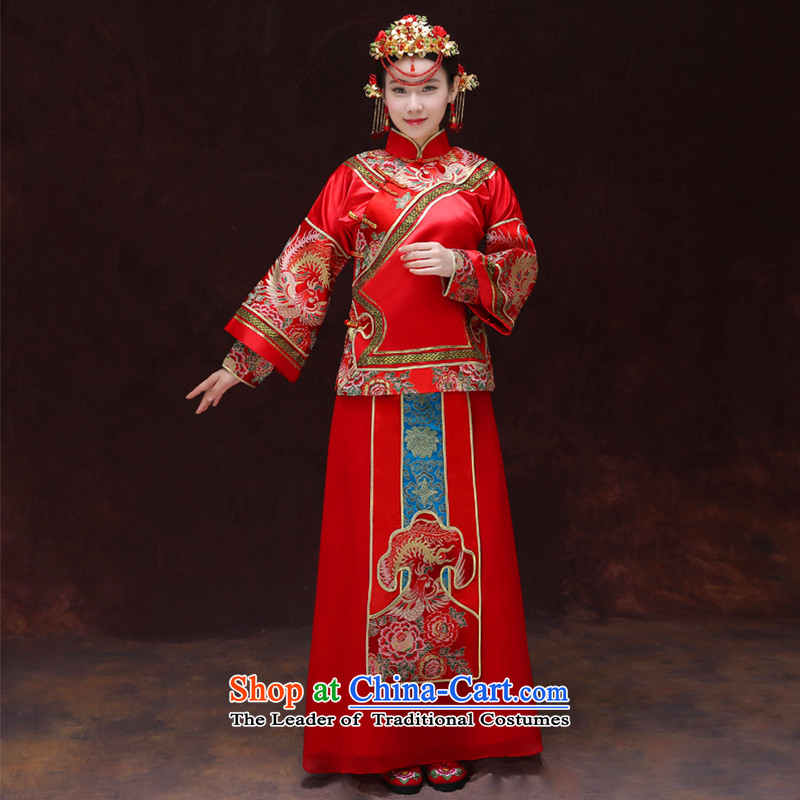 Tsai Hsin-soo Wo Service dream 2015 new retro Chinese wedding dresses bows services use Bong-sam Hui Har dragon costume show previous Popes are placed kimono wedding dress uniform set of clothes-hi + model and the?XS chest 90