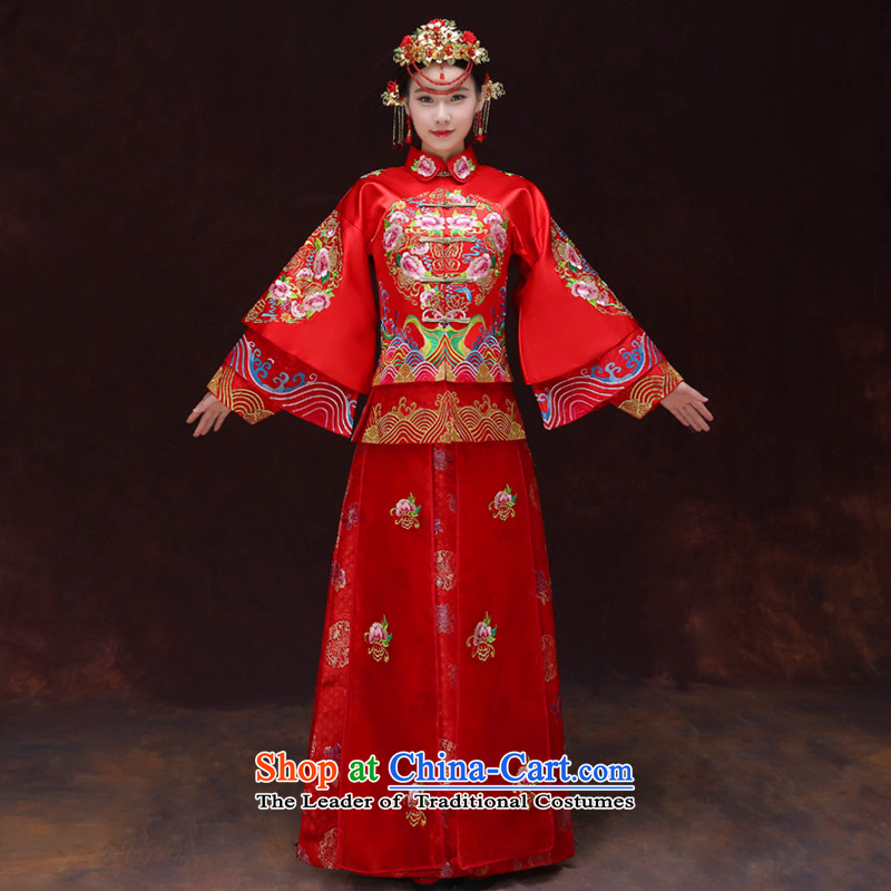 Tsai Hsin-soo Wo Service dream new Bong-Koon-hsia retro Chinese bride dresses previous Popes are placed wedding marriage services red dragon qipao bows should start with the wedding dress clothes a + model Head Ornaments燤 of brassieres 102