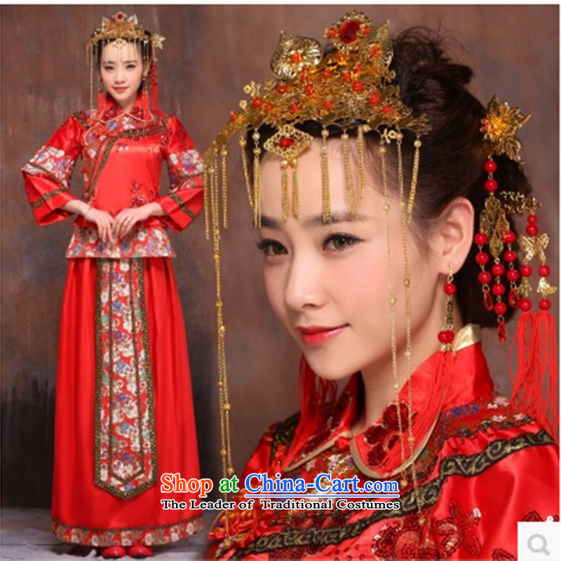 In accordance with the Lena Sau Wo Service 2015 new bride autumn and winter wedding dress red Chinese wedding dresses bows to the bride of nostalgia for the large number of pregnant women cheongsam dress L