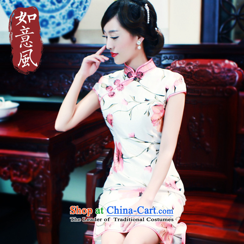 After the fall of 2015, the Wind qipao new retro brocade coverlets Side of tray snap manually short cheongsam dress suit 5703 5703?XL?pre-sale 7 Days
