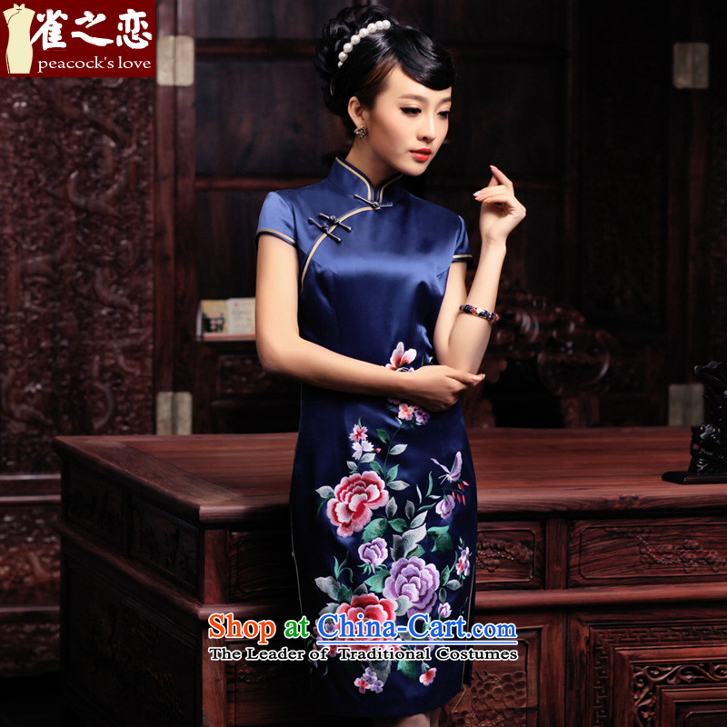 Love of birds in Spring 2015, the Lab new short-sleeved manually push embroidered heavyweight Silk Cheongsam QD444 BLUE XXL- pre-sale 15 Days