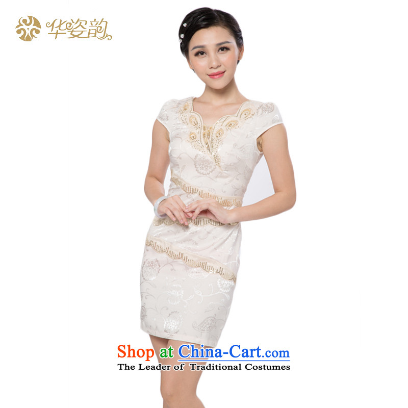 The 2015 autumn Gigi Lai Hua new women's Chinese stamp retro look like video thin Sau San short-sleeved summer qipao summer dresses cheongsam dress new fall inside the new champagne color?M
