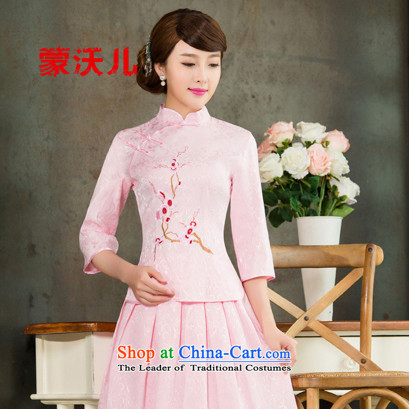 The new 2015-Monrovia Kosovo of daily cheongsam dress retro style two kit in Pink Sleeves S