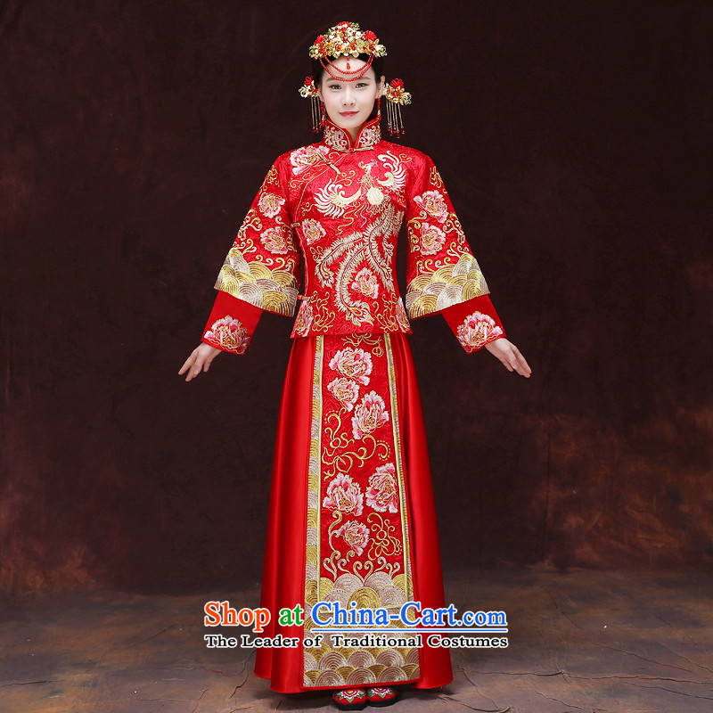 Tsai Hsin-soo wo service of the dragon and the use of the new Chinese Antique bride wedding dresses marriage bows services wedding gown ancient Chinese hi-bong-Koon-hsia previous Popes are placed a set of clothes燾hest S 86