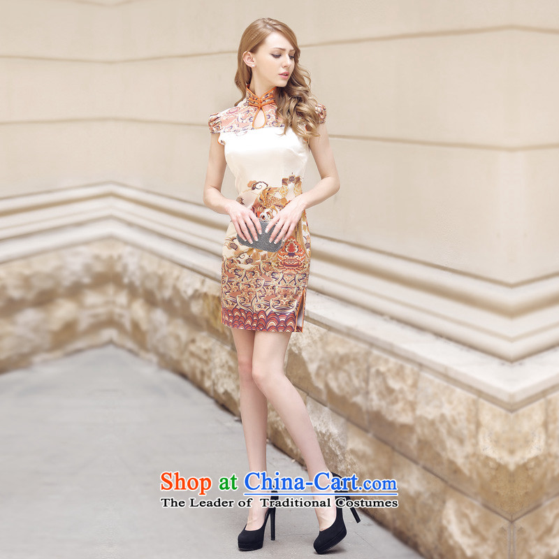 With these remarks, the original Foutune of Sau San video thin improved retro China wind heavyweight elegant silk cheongsam dress Bong-out Xiangyun�XL