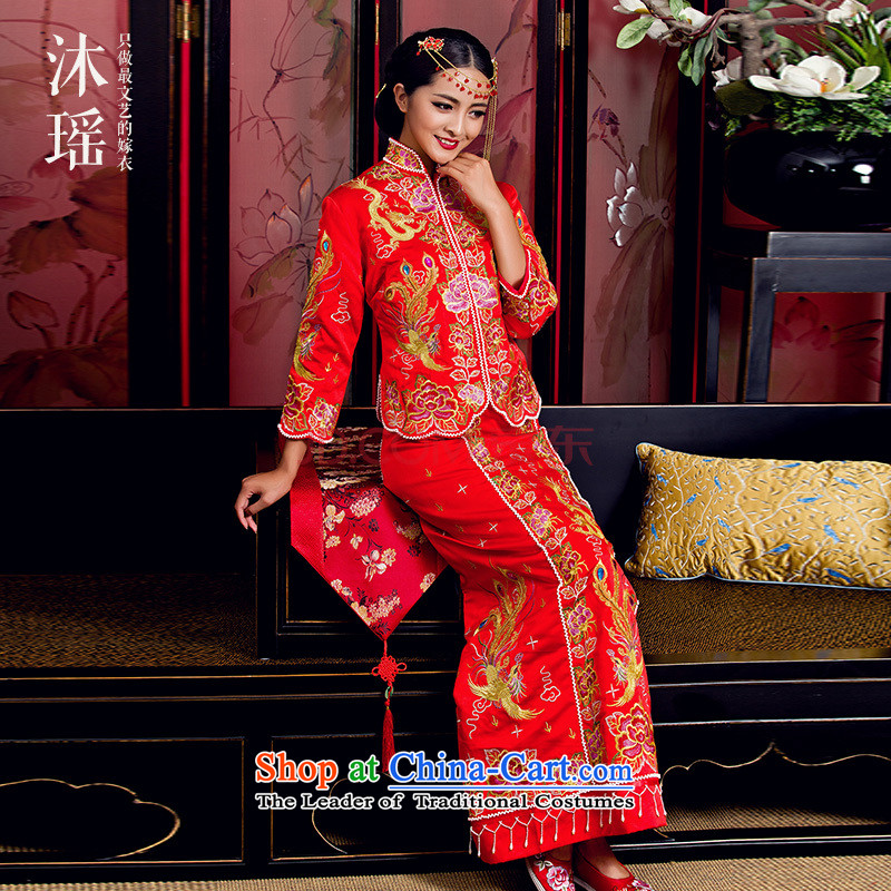 Yoyo Chen Su-wo service bathing in the summer Chinese wedding dresses bride longfeng use large female costume married dresses use su kimono primary 5 Fook Building Wu-fu to head the autumn and winter 0910 Appliances Purple Heart small Wu-fu L bathing in t