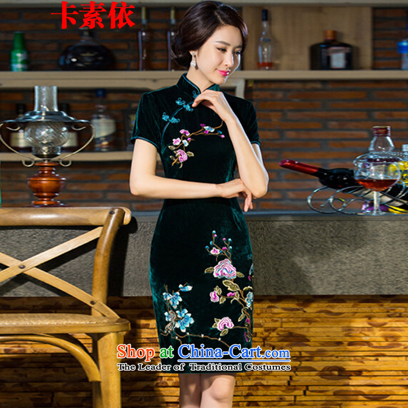 In accordance with the 2015 Carlisle-three new moms wedding Kim scouring pads retro dresses cheongsam dress improved skirt green�XXL