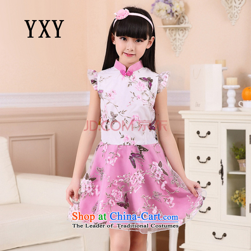 The end of the shallow children improved cheongsam dress with Chinese girls dresses cuff costumes�MT51322 programs for children�with Heather�110cm, cuffs