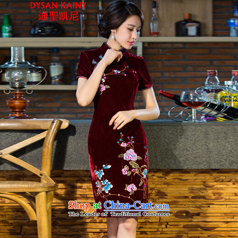 Deere holy, 2015 new moms wedding Kim scouring pads retro dresses cheongsam dress improved skirt wine red L