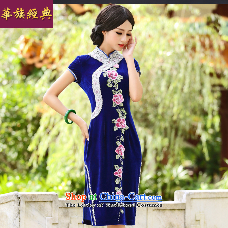 2015 Autumn hand nailed pearl wedding banquet scouring pads qipao middle-aged moms/mother-marriage feast dress skirt dark blue XL