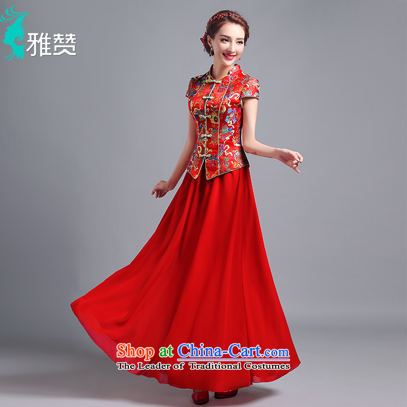 Jacob Chan wedding dresses bride Chinese wedding dress long summer and fall of 2015 new short-sleeved costume Sau Wo Service     Red Red XXL