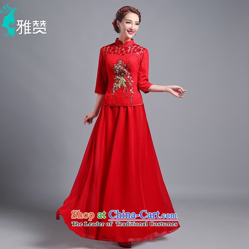 Jacob Chan bride bows long service new summer and fall of 2015, the Chinese style wedding dresses in long-sleeved engraving lace wedding dress red red XXL