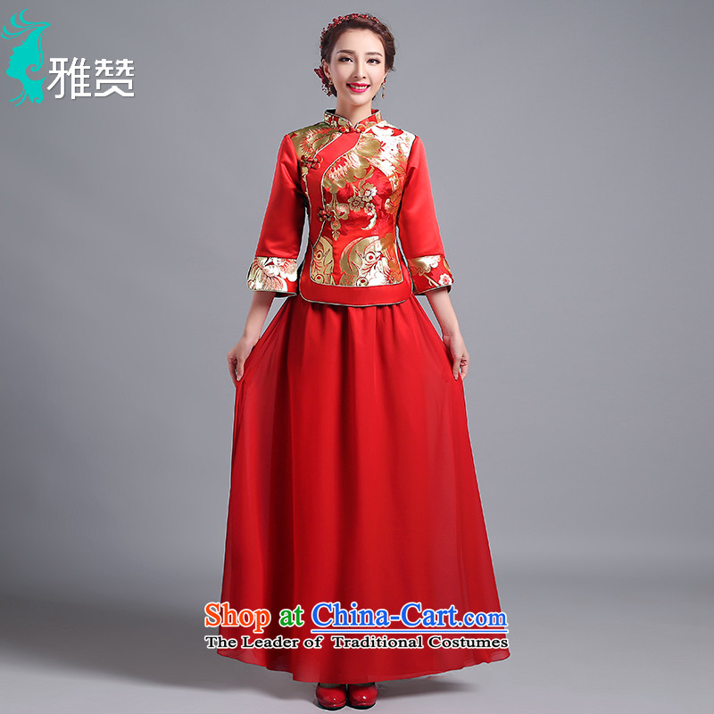 Jacob Chan bride cheongsam dress bows service long gold embroidery in long-sleeved 2015 new summer and fall of ancient wedding dress uniform Sau Wo Red L