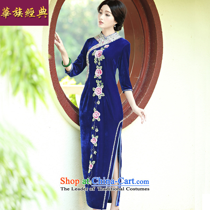 Ms. wedding Kim scouring pads 7 long-sleeved cheongsam dress dresses autumn and winter, Retro temperament improved large blue long long-sleeved燲L