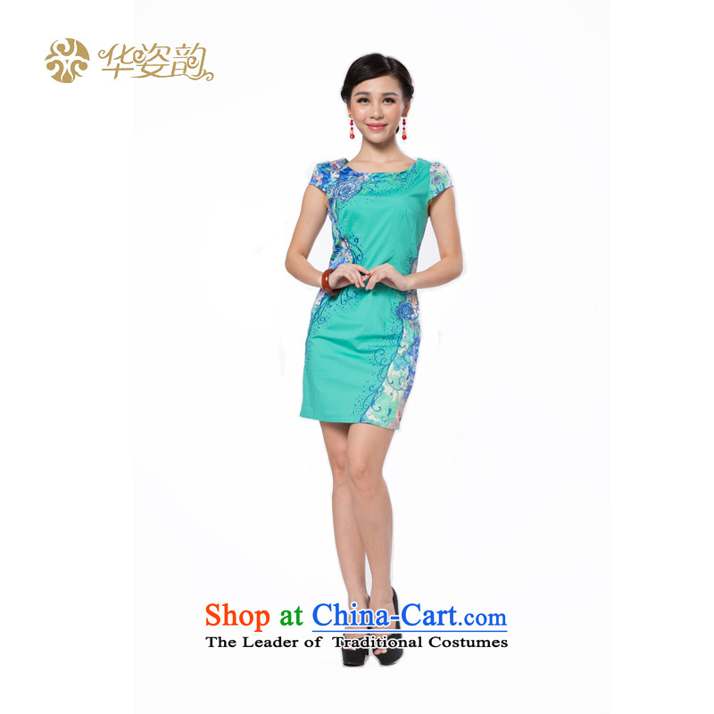 The following summer Gigi Lai Hua short-sleeved cheongsam dress summer stylish cheongsam dress improved embroidery dresses cheongsam dress cheongsam dress qipao improved green?S