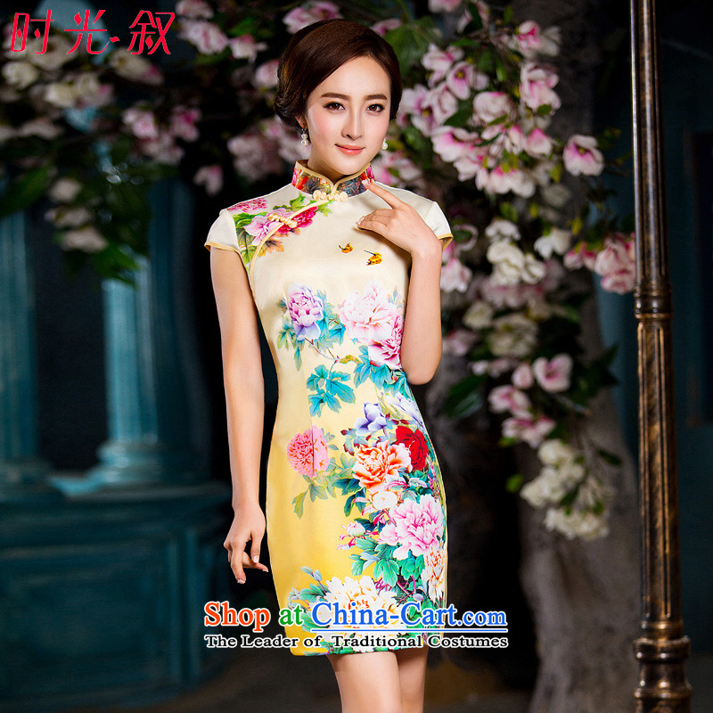 Time the聽 new 2015 Syria cheongsam dress with improved female qipao autumn dresses and Stylish retro Sau San-to-day short temperament of qipao gown light yellow聽M