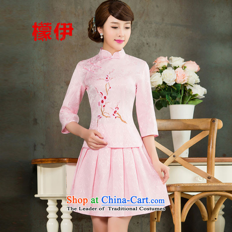 The city of�15 Summer new daily cheongsam dress retro style two kit in Pink Sleeves燣