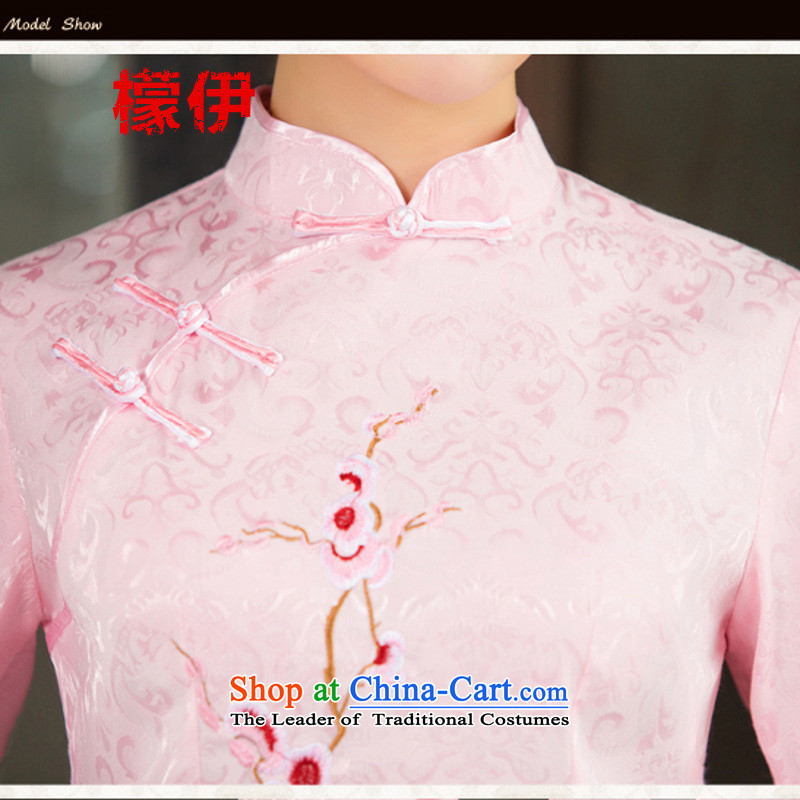 The city of 2015 Summer new daily cheongsam dress retro style two kit in Pink Sleeves , L (mengyi city shopping on the Internet has been pressed.)