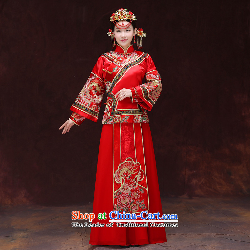 Tsai Hsin-soo Wo Service dream 2015 New Chinese Dress bride hi retro services services use the dragon costume bows cheongsam wedding clothes of the AFC Champions Bangladesh previous Popes are placed Bong-A + model head ornaments?of the XS chest 90