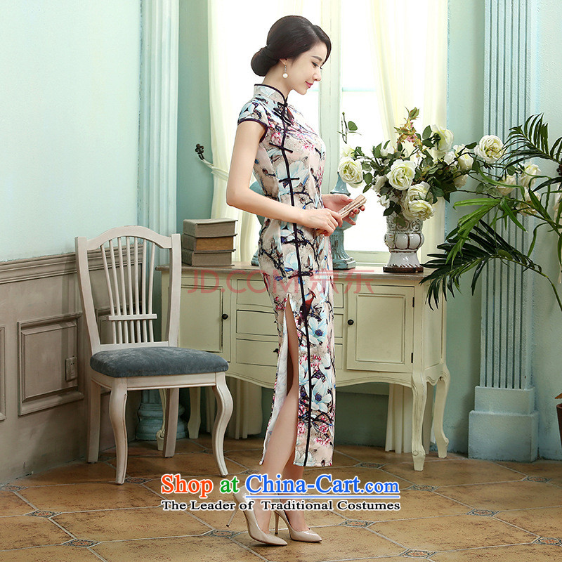 27.41 The new day-to-Chae reconstructed silk dresses short-sleeved Sau San Single Row 10 detained longer qipao�C0015�picture color�S