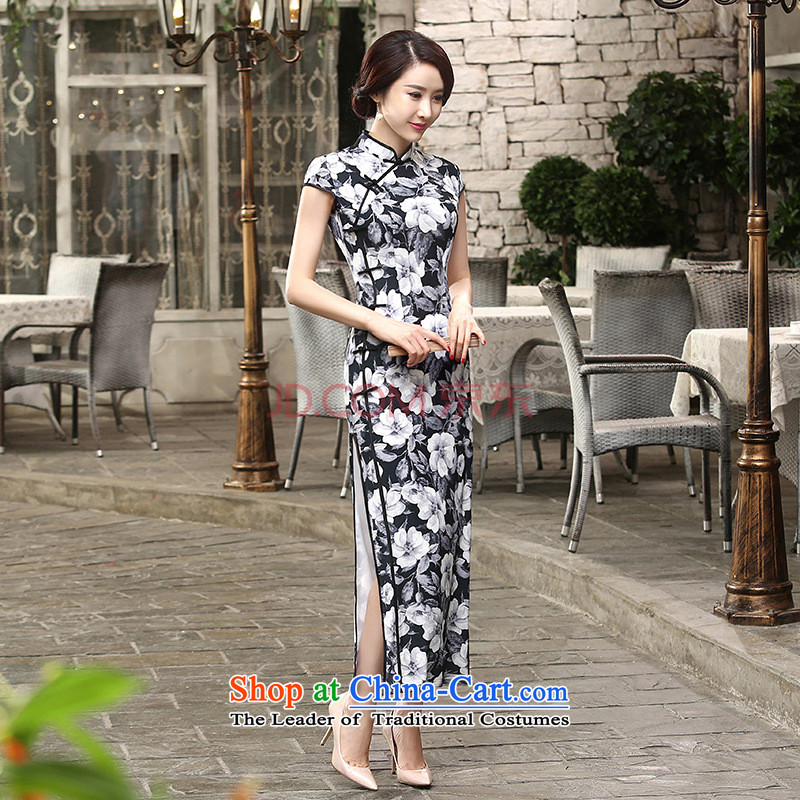 27.41 The new day-to-Chae reconstructed silk dresses short-sleeved long double 10 Sau San tie long qipao?C0014 -A black?S