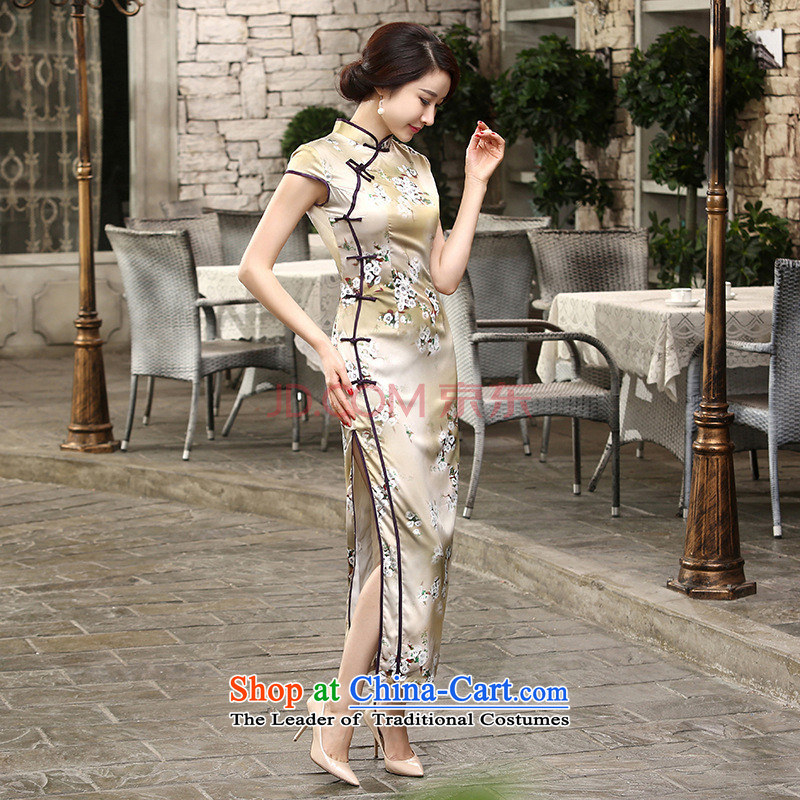 27.41 The new day-to-Chae reconstructed silk dresses short-sleeved long double 10 Sau San tie long qipao C0013 -A picture color M