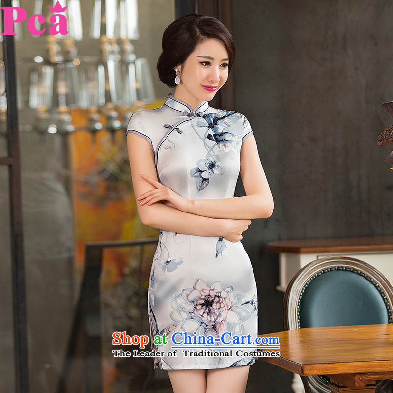 Pca?qipao improved China wind collar is cut, the new dresses 521152 skirt silver flower?L
