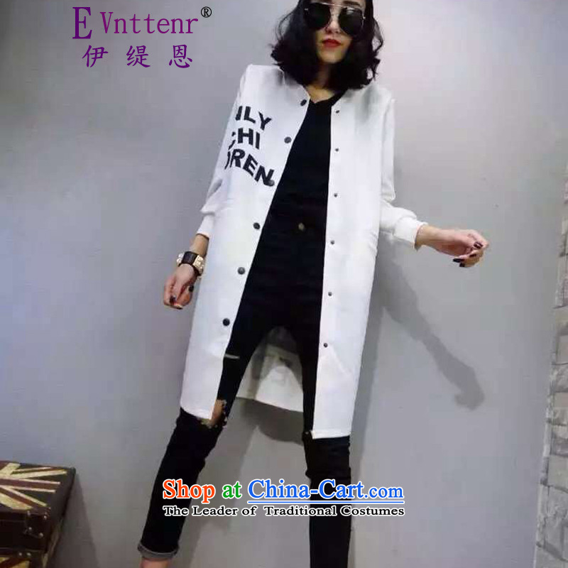 Iran and isle of female single line button autumn English long cosmic cotton jacket white?L
