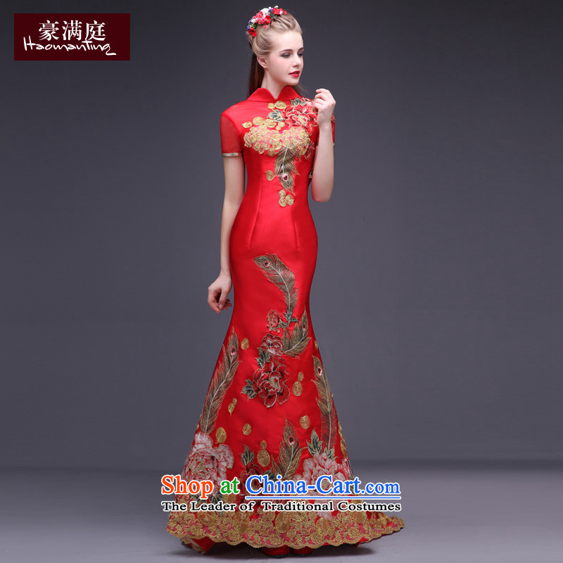 Chinese wedding dress bride bows long service tail retro embroidery cheongsam dress married a crowsfoot banquet evening dresses red�L